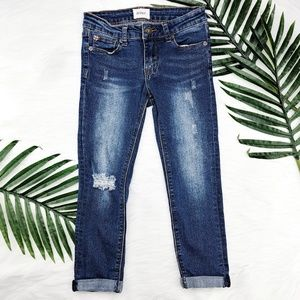 Hudson | Girl's Cuffed Distressed Ankle Jeans 10